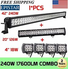 """42Inch LED Light Bar Combo + 20in +4"""" CREE PODS OFFROAD SUV 4WD ATV FORD JEEP XP"""