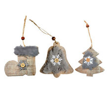 Wood Bells Boot Ornaments Festival Xmas Christmas Tree Hanging Decoration