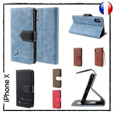 Etui porte-carte coque housse Cuir PU Notebook Style Wallet Cover case iPhone X