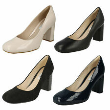LADIES CLARKS SLIP ON SQUARE TOE BLOCK HEEL SMART PUMPS COURT SHOES GABRIEL MIST