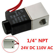 """1/4"""" 2 Ways Inch Electric Air Water Solenoid Valve Normally Closed DC 24V/110V"""