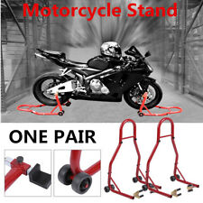 Motorcycle Stand Front and Rear Swingarm Spool Wheel Lift Bike BLK & RED OY