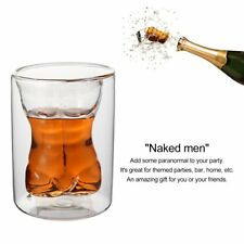Unique Double Layer 150ml Naked Male Body Muscle Glass Cup Drinking Mug LY