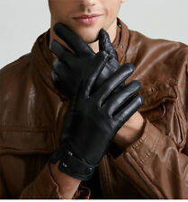 Touchscreen Genuine Leather Gloves for men's Texting Driving Cashmere Lining