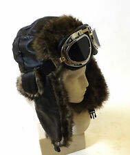 New Victorian Steampunk Festival Pilot Aviator Trapper Hat with Goggles Brown