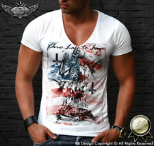 Mens Deep V Neck T-shirt Fashion Skeleton Prayer Tee Shirt Designer Tank Top 685