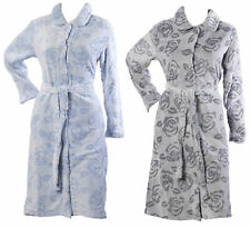 Dressing Gown Ladies Button Up Flower Bathrobe Soft Fleece Floral Rose Housecoat