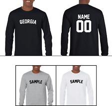 State Georgia Custom Personalized Name & Number Long Sleeve Jersey T-shirt
