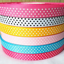 "5/10/20y Printed Grosgrain Ribbon 5/8"" Dot Bow Party Wedding Home Decor Craft"
