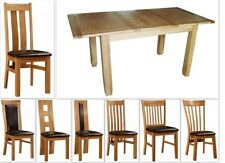 Solid Oak Extending Dining Table And Four Oak Chairs 7 Chairs Design 120-165CM
