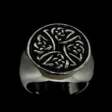 ROUND STERLING SILVER MENS RING CELTIC KNOT BIRGITS CROSS BLACK ENAMEL ANY SIZE