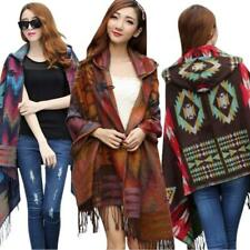 Women Wool Bohemian Cape Cloak Collar Blanket Poncho Jacket Casual Shawl Scarf