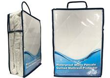 NEW Supersoft Luxurious WATERPROOF PERCALE QUILTED MATTRESS and PILLOW PROTECTOR