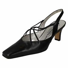 WOMENS PETER KAISER BLACK LEATHER SLING BACK ELASTICATED COURT SHOES BIFFY