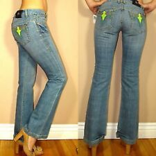 $172 Antik Denim Wild West Pkt Embroidery Bootcut Low Rise Jeans in Medium 24 25
