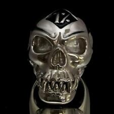STERLING SILVER MENS RING ONE PERCENTER ZOMBIE SKULL OUTLAW BLACK ANY SIZE