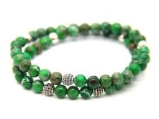 6mm Blue & Green Sea Sediment Stone Beads with Micro Pave CZ Beads Bracelet