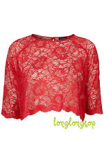 TOPSHOP RED SCALLOPED LACE CROP TOP BLOUSE T SHIRT UK 10 EUR 38 US 6 NEW