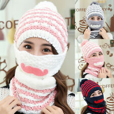 WOMEN'S WINTER KNITTED BEANIE BOBBLE HAT OUTDOOR FACE MOUTH MASK + SCARF MODERN