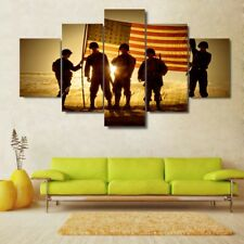 American Flag Soldiers Sunset Painting Poster Modern Canvas Wall Art Home Decor