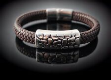 Wide Braid Leather Bracelet with Crocodile Effect Design