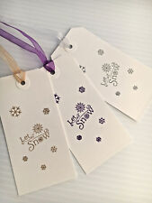 10 x Handmade Christmas Xmas White Gift Tags - Let It Snow With Organza Ribbon
