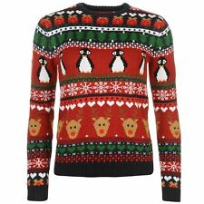 WOMENS STAR NOVELTY REINDEER PENGUIN XMAS CHRISTMAS PRESENT KNIT KNITTED JUMPER