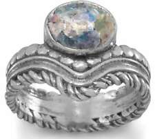 Oxidized Oval Ancient Roman Glass Ring with Ornate Band 925 Sterling Silver