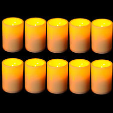 US 12 Pack Xmas Wedding Party Flameless Wax Flickering Pillar LED Candle Light