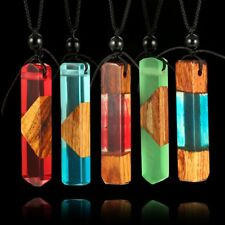 Women Wooden Plastic Pendant Necklace Charming Female Party Necklace Jewelry EW