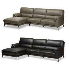 BLACK GRAY GENUINE TOP GRAIN LEATHER CONTEMPORARY MODERN SOFA SECTIONAL CHAISE
