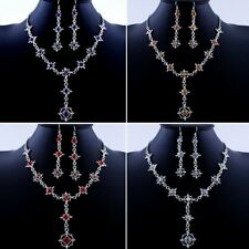 Fashion Crystal Wedding Bridal Chain Pendant Necklace Earrings Set Women Jewelry