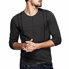 Nice!! Mens T-Shirt Round Neck Long Sleeve Simple Fitted Basic TeeM L XL XXL