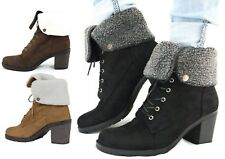 Womens Fur Cuff Ankle Faux Suede Boots Ladies Shoes Cuban Heels Lace Up High Top