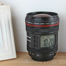 Free Shipping 1Piece Camera Lens Alarm Clock With Calender and Stars Projection