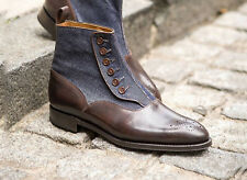 Hand Crafted Button Top Boots, Brogue Denim Leather Vintage Brown Boots Men's