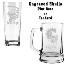 Personalised GOTHIC SKULL Engraved Tankard or Pint Beer Glass FREE DELIVERY