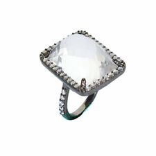 Clear Quartz and Cubic Zirconia Halo Ring Black Rhodium-plated Sterling Silver