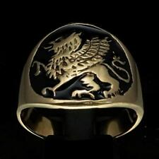 BRONZE MENS MEDIEVAL COSTUME RING SEAL WITH A GRIFFIN GRYPHON BLACK ANY SIZE