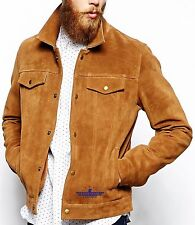 Men TRUCKER Tan Suede Classic Western Denim Style Real Hide Leather Jacket New