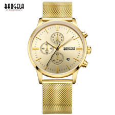 42mm Baogela Mens Stainless Steel Chronograph Quartz Water Resistant Watch
