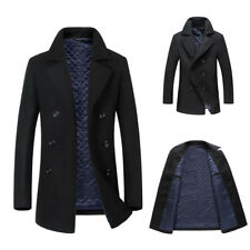 Winter Mens Trench Coat Warm Padded Lined Jacket Peacoat Long Overcoat Outwear