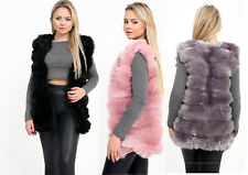 New Ladies Sleeveless Faux Fur Ribbed Gillet Stylish Queen Winter Coat