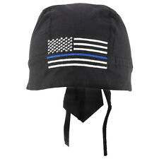Thin Blue Line American Flag Embroidered Headwrap