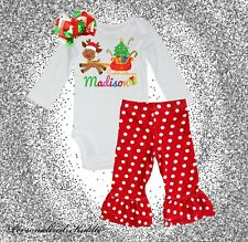 Personalized christmas 3 pc. polka dot pants Outfit, My first christmas, cute re