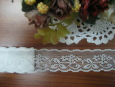 "White Milky White W1.25"" Net Lace Trim Floral Double Scallop Edging 6 Yds/7 Yds"