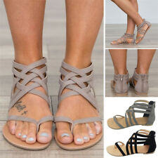 Women Fashion Flat Shoes Gladiator Strappy Front Summer Base Zipper Sandals-NEW