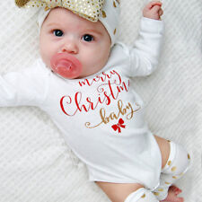 Toddler Baby Girls Boys Christmas Letter Romper Leg Warmer 2PCS Outfits Clothes
