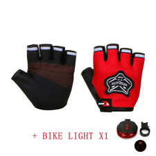 Kid/Adult Sports Cycling Bicycle Bike Gel Padded Half Fingers Gloves Bike Light