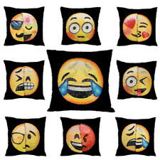 Sequin Cushion Pillow Cover Decor Home Emoji Mermaid Expression Funny Reversible